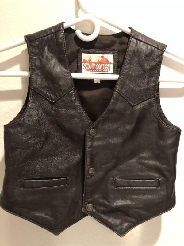 Saguara West Trading Co Leather Vest Size Large Kids Brown