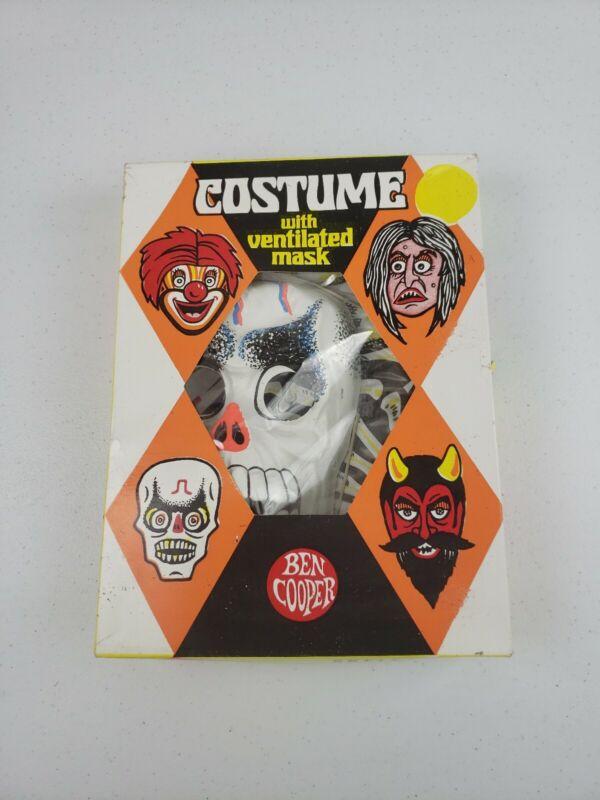 VTG 1972 Ben Cooper Skeleton Costume Vented Mask Sz 8-10 Original Box Halloween