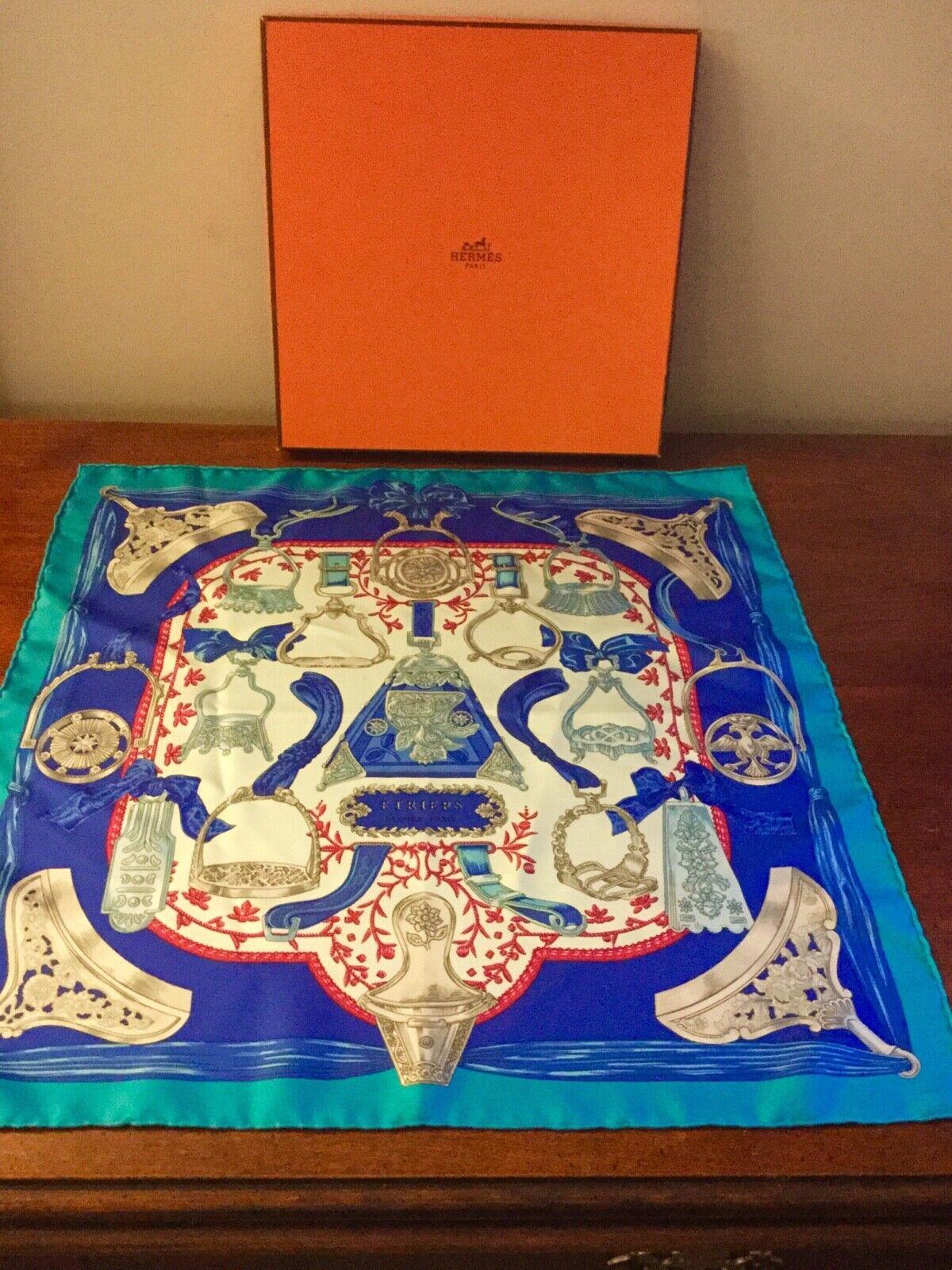 Hermes Etriers Remix Silk Twill Blue Scarf 90cm 16