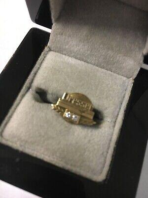 - 14k Yellow Gold Dresser 15 Year Service Lapel Pin 3.5 Grams Total Weight Diamond