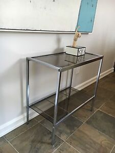 Vintage Chrome & Glass side table
