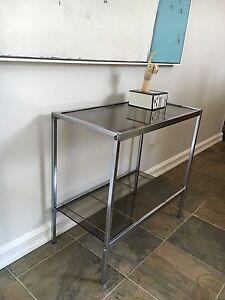 Vintage Chrome & Glass side table