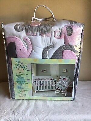 Brand New Little Bedding Nojo Elephant Time Pink 4-Piece Crib Bedding Set