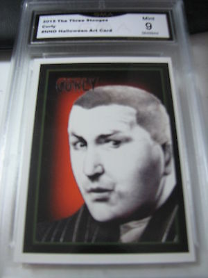 CURLY HOWARD 2015 CHRONICLES OF THE THREE 3 STOOGES HALLOWEEN ART GRADED 9 A - Three Stooges Halloween