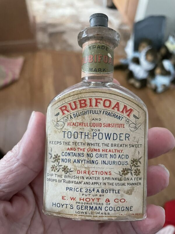 Rubifoam Dentirice EARLY Labeled Bottle Hoyt Lowell MA (not Tooth Powder Tin )