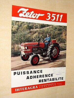Prospectus  Tracteur  ZETOR  3511  Prospekt  brochure Trattore Tractor Traktor na sprzedaż  Wysyłka do Poland