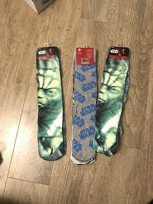 "Disney Unisex Star Wars Socks ""Yoda"" And ""Star Wars"" Print (6-12) Pair"
