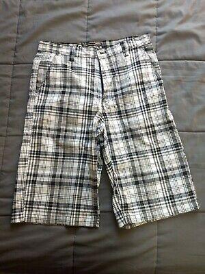 Plaid Woven Shorts (Southpole Plaid Woven Shorts Black and White Size 32)