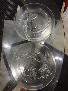 Darlie Glass Plates with swimming Koi Fish design Set