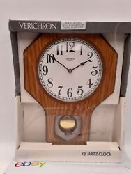 Verichron School House Pendulum Wall Clock Walnut Wood Quartz USA Traditional