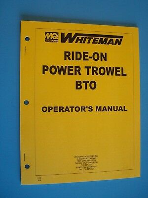 Mq Whiteman Ride-on Power Trowel Bto Operators Manual 996