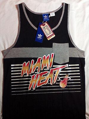 $35 MIAMI HEAT NBA Basketball adidas Hardwood Classics Tank Top Jersey Shirt LG