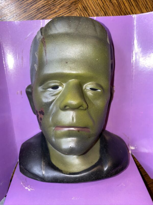 FRANKENSTEIN MONSTER COIN BANK 1986 UNIVERSAL CITY STUDIOS Rubber Vintage W/box