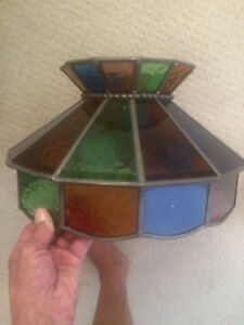2 Tiffany style stained glass shades.