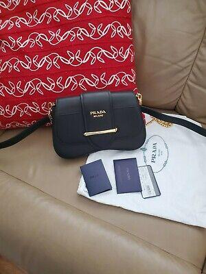 PRADA Black Smooth Calfskin City Sidonie Belt Bag / Chain Shoulder Bag
