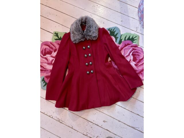 Next Petite Stunning Red Skater Coat With Faux Fur Removable Collar Size 10 BNWT