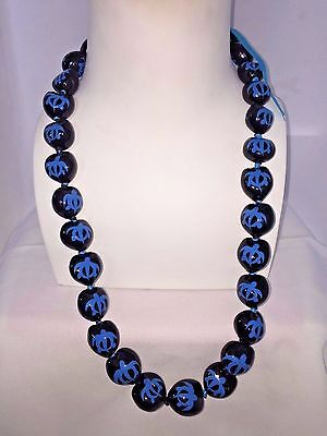 NEW Hawaii Wedding Kukui Nut Lei Necklace ~ BLACK W/ BLUE HONU TURTLE ( QTY 2 )