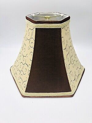 """Swirl Beige Copper Brown Fabric Bell Lampshade Cloth Lining Spider Fitter 12"""""""