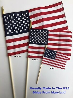 American Flags On A Stick -United States Made In USA -4x6, 8x12, 12x18 Hand Held