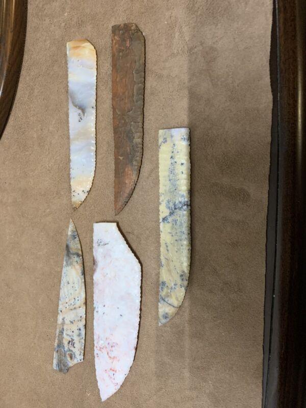 flint knapped knife blades, Cliff Carney, Rick Tollet, Polka Dot, Sage, Paiute,