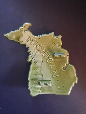 Ashtray in the shape of Michigan. Cities & towns on the back. Retro ceramic map!