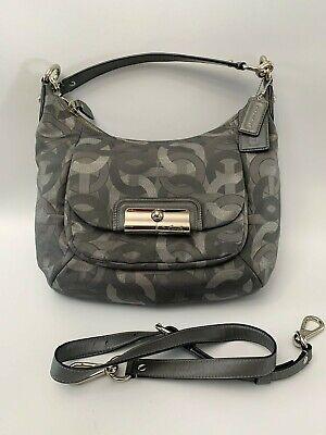 Coach 18295 Kristin Gray Metallic Hobo Crossbody Bag