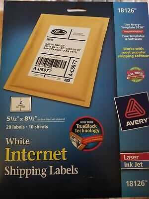 Avery Shipping Address Labels Laser Inkjet Printers 20 Labels