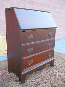 Antique Mahogany Slant Front Secretary Desk Chippendale Style Gov Winthrop Desk