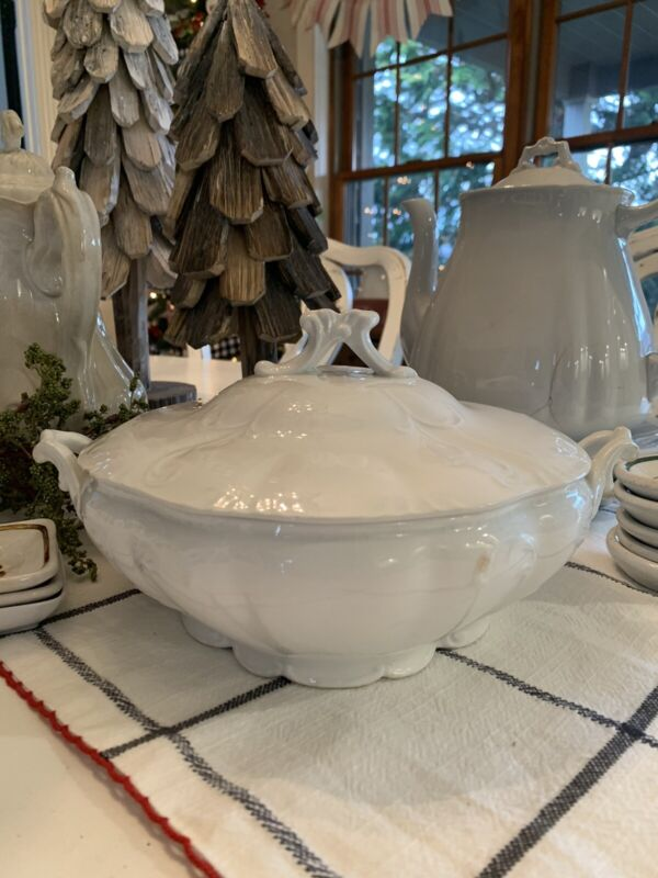 Antique Round Semi Porcelain/Ironstone Covered Dish-W.H. Grindley