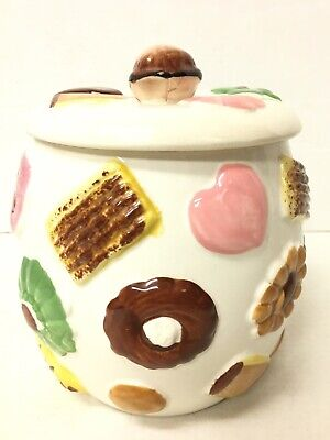 Vintage Cookies All Over Collector Cookie Jar w/Walnut Knob on Lid 1950s