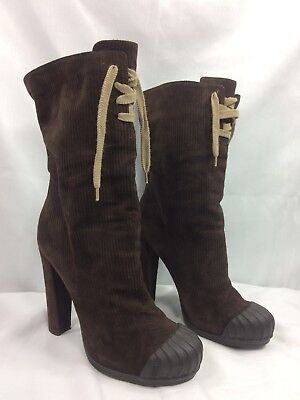 $900 FENDI Corduroy-Suede Duck Boots High Platform Heels Shoes Brown 40 Womens 9