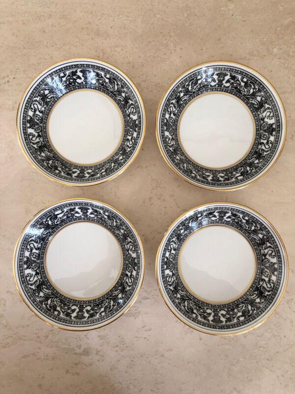 "4 Wedgwood Florentine Black bone china 5"" fruit dish Bowl Excellent! SET Of 4!"