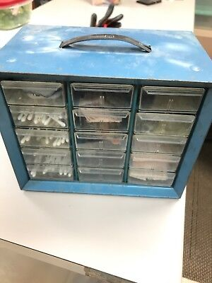 Vintage Blue Metal Akro Mills Multi Drawer Storage Cabinet 15 Drawers W Handle