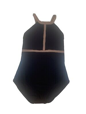 karla colletto. Black And Brown One Piece Swimming Costume. American Size 12.