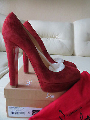 NIB Christian Louboutin Bibi 140 Red Suede Pump Heels 40 New like Bianca Daffy
