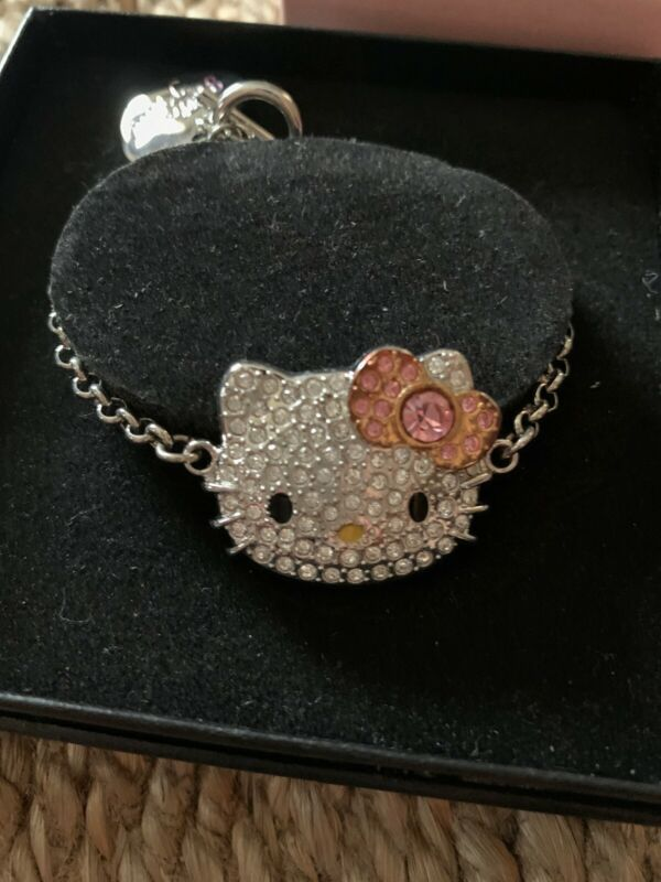 "HELLO KITTY SANRIO CHARM BRACELET 7"" CHAIN RHINESTONE GEMSTONES NEW"