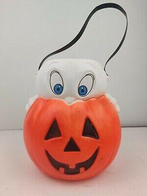 VTG 1995 Empire Blow Mold Casper Ghost Pumpkin Halloween Trick/Treat Bucket