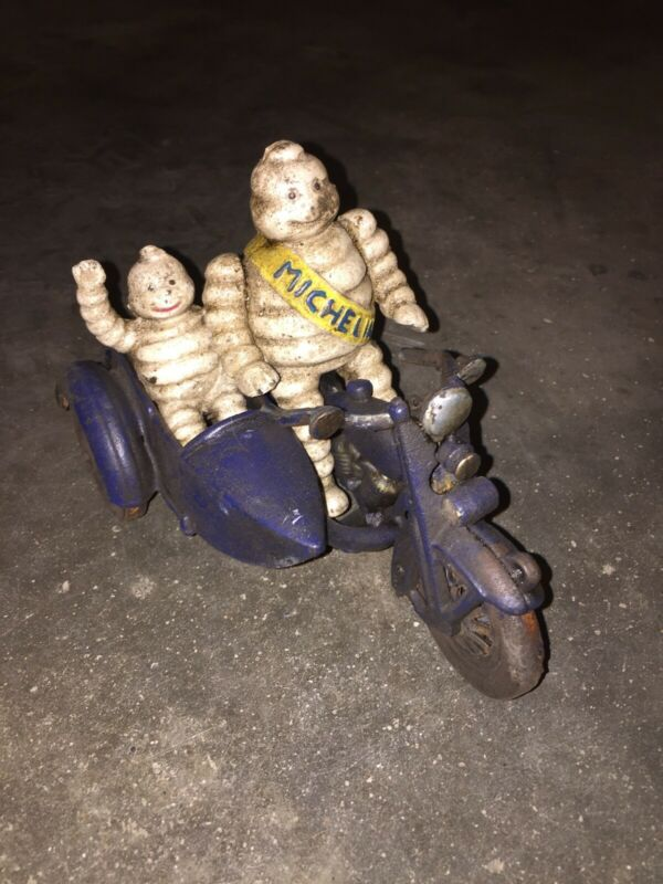 Michelin Tire Men Motorcycle Cast Iron Patina Finish Toy Set Lot Antique Style E