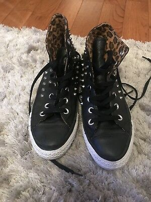 Converse All Star Women's Black Leather with Spikes 39 size 8