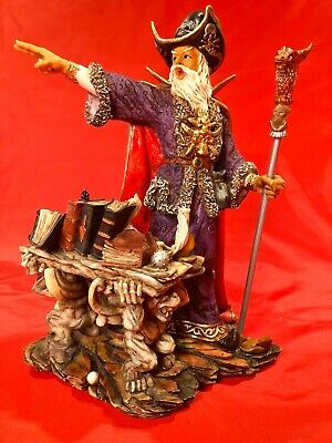 "✨ 1998 Merlin the Magician Wizard Statue 11"" Fantasy Magic Sorcerer Figurine"