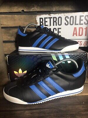 Adidas Originals Kick Trainers UK Size 8 Black Blue Leather G51305