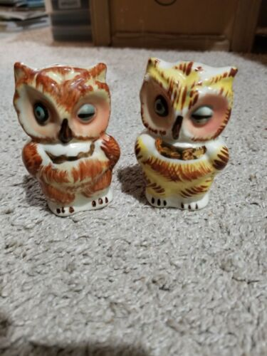Vintage Porcelain Brown Yellow Owl Salt & Pepper Shakers 3 Inches
