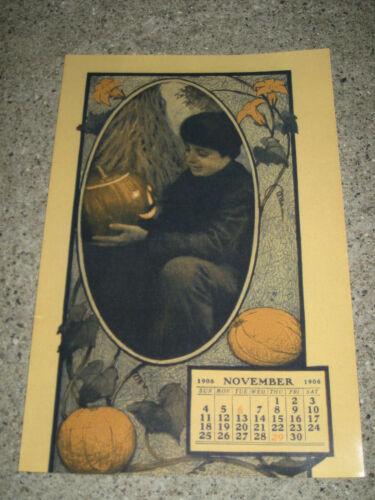 1906 Antique Halloween Paper Ad Pumpkins JOL w/ Calendar REPRO