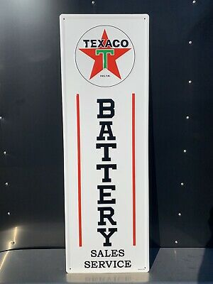 Texaco Battery Sales Service Gas Oil Auto Metal Sign Vintage Style Garage Tires