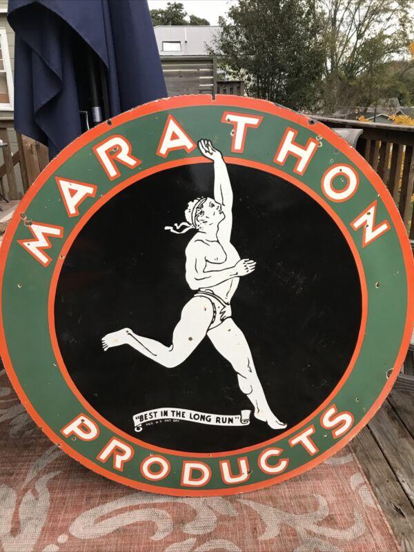 "Original Marathon Gasoline Double Sided Porcelain Sign 48"""