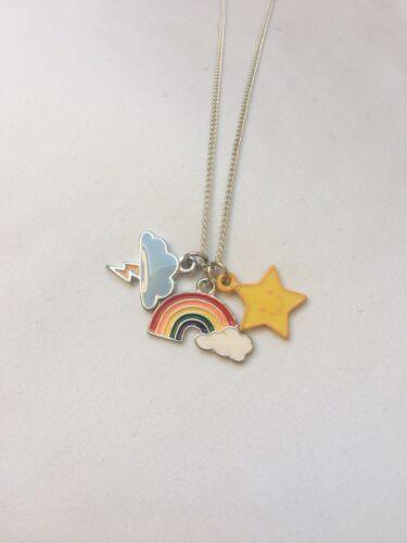 Kette Regenbogen Stern Blitz Silber Neu