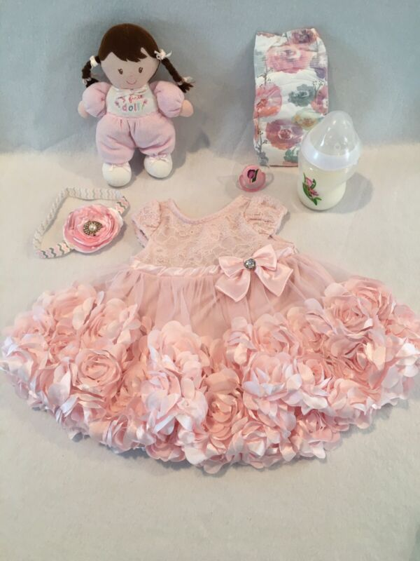 Reborn Baby Doll 3-6mo Flowered Dress W/bottle, Pacifier & Accs