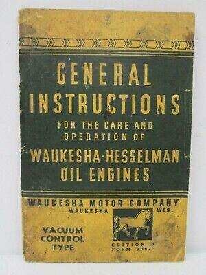 General Instructions Waukesha Hesselman Oil Engines Vacuum Control Type Manual