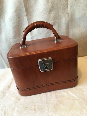 Vintage ladies vanity carry case with key faux leather