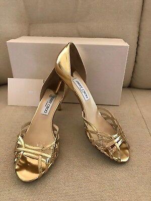 $600 Jimmy Choo Metallic Leather Gold-Tone Shoes Heels Sandals Dandy Dorsay 39 9 Metallic Dorsay Pump